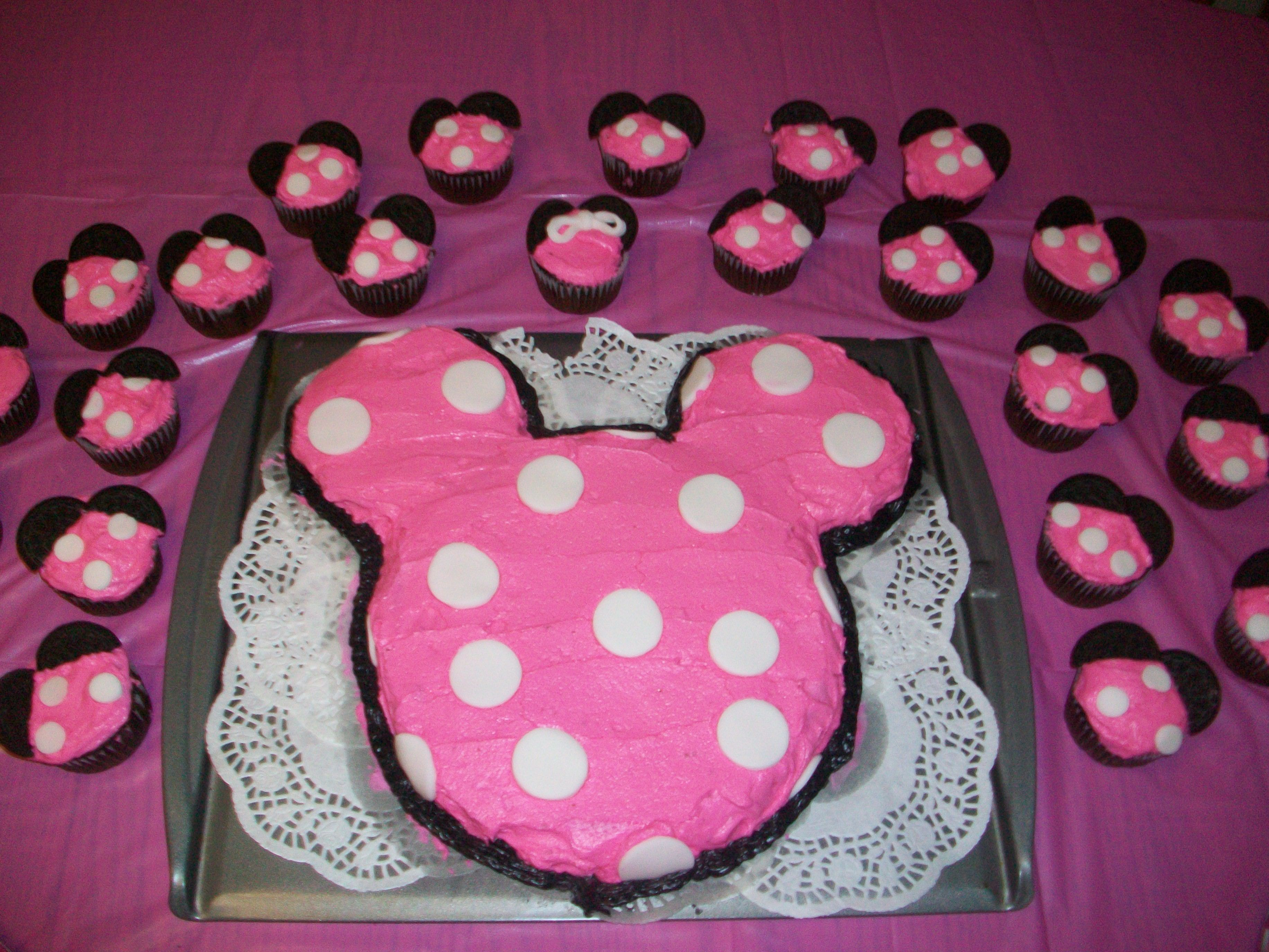 Minnie Mouse Cake and Cupcakes Addisons first birthday
