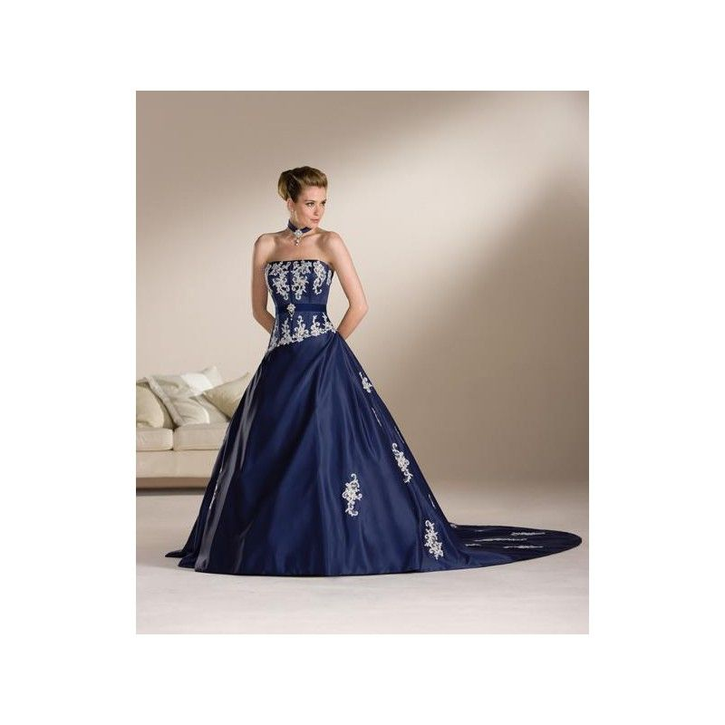 Pics Of Dark Navy Blue And White Wedding Dresses Dress Strapless Color Accented Gowns Hiwdc71