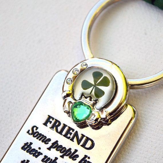 Patricks Day Souvenir Metal Keyring Shamrock Keychain Clover Key Ring Holder Irish Luck Gift St