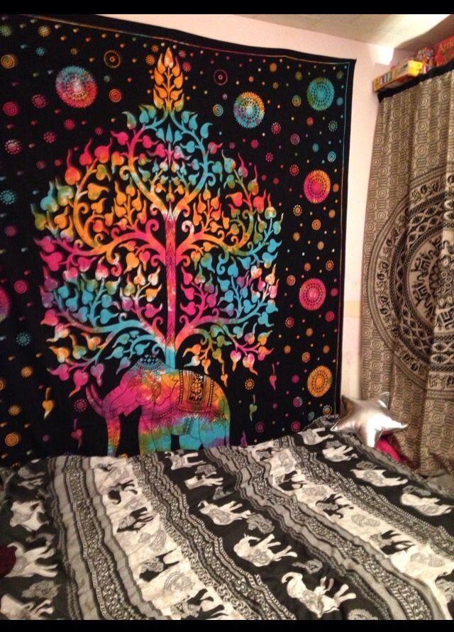 Colourful elephant bedroom decoration. Indian hippy style wall hangings /tapestry.