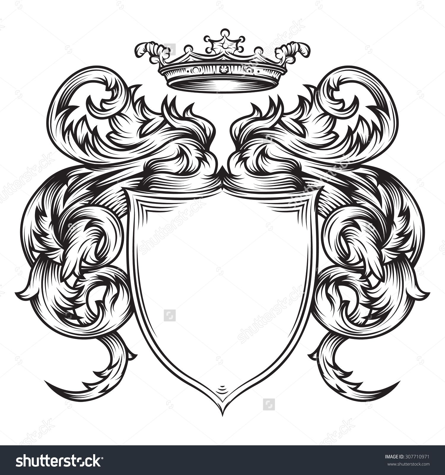 Vector Drawing Of A / Heraldic Shield Line Art / Easy To
