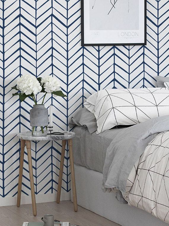 Navy Blue Chevron Wallpaper Peel And Stick Herringbone Etsy Temporary Wallpaper Bedroom Herringbone Wallpaper Blue Chevron Wallpaper