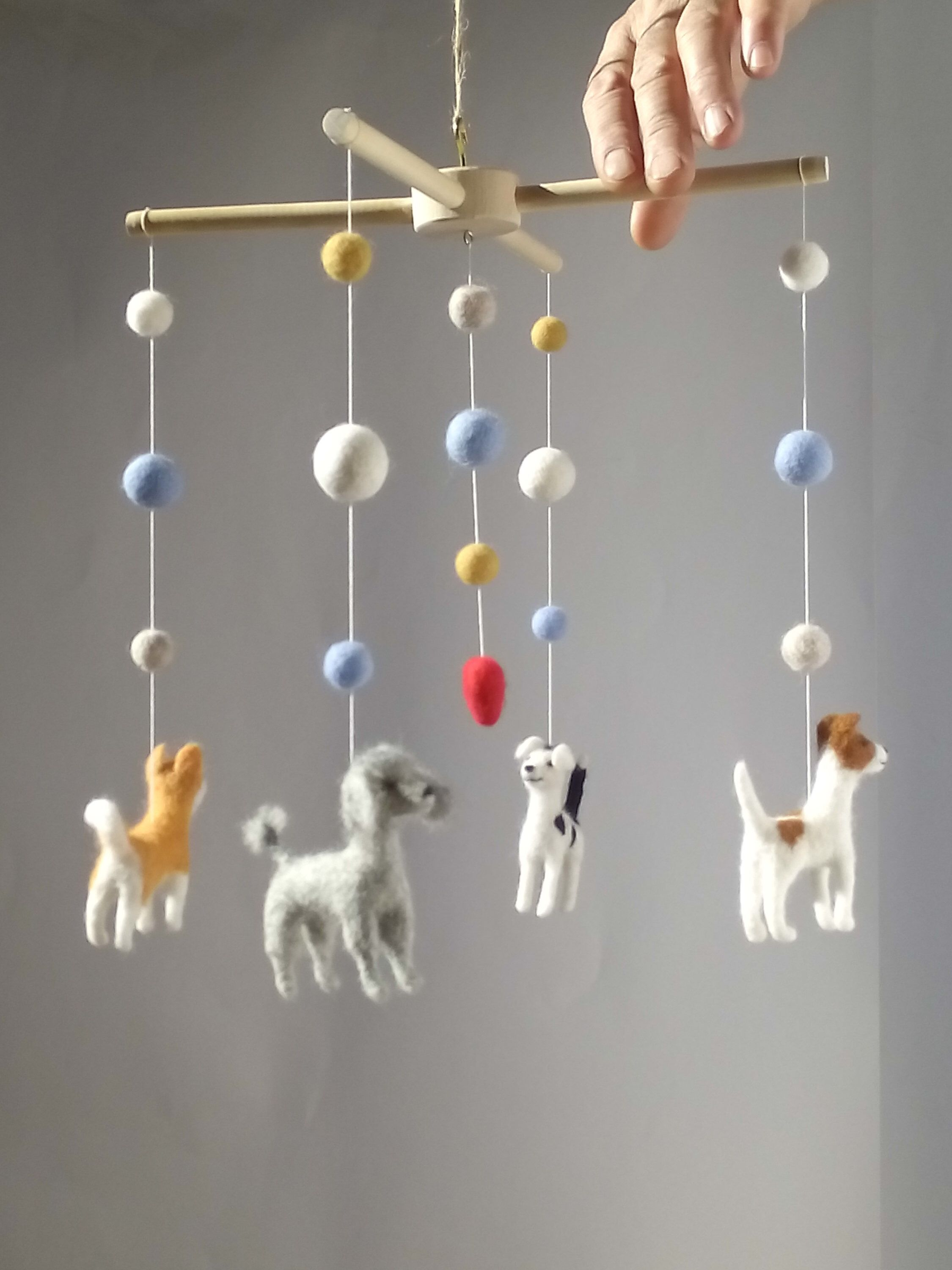 Baby Felted Dog Mobile Animal Baby Mobile For Nursery Puppy