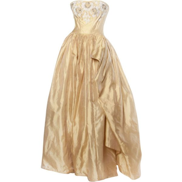 Pre-owned Vintage 1950s 50s Strapless Gold Silk Beaded Formal Gown ...