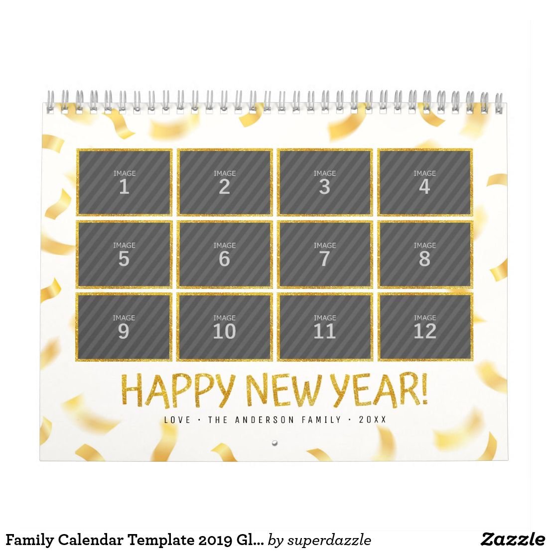 Family Calendar Template 2019 Glitter Custom Photo | Zazzle