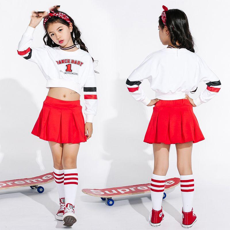 93a936275a Trajes De Dança Jazz Para Meninas Cheerleading Traje Crianças Crianças Hip  Hop Rua Roupas de Dança de Manga Longa Saias Vermelhas DN1739