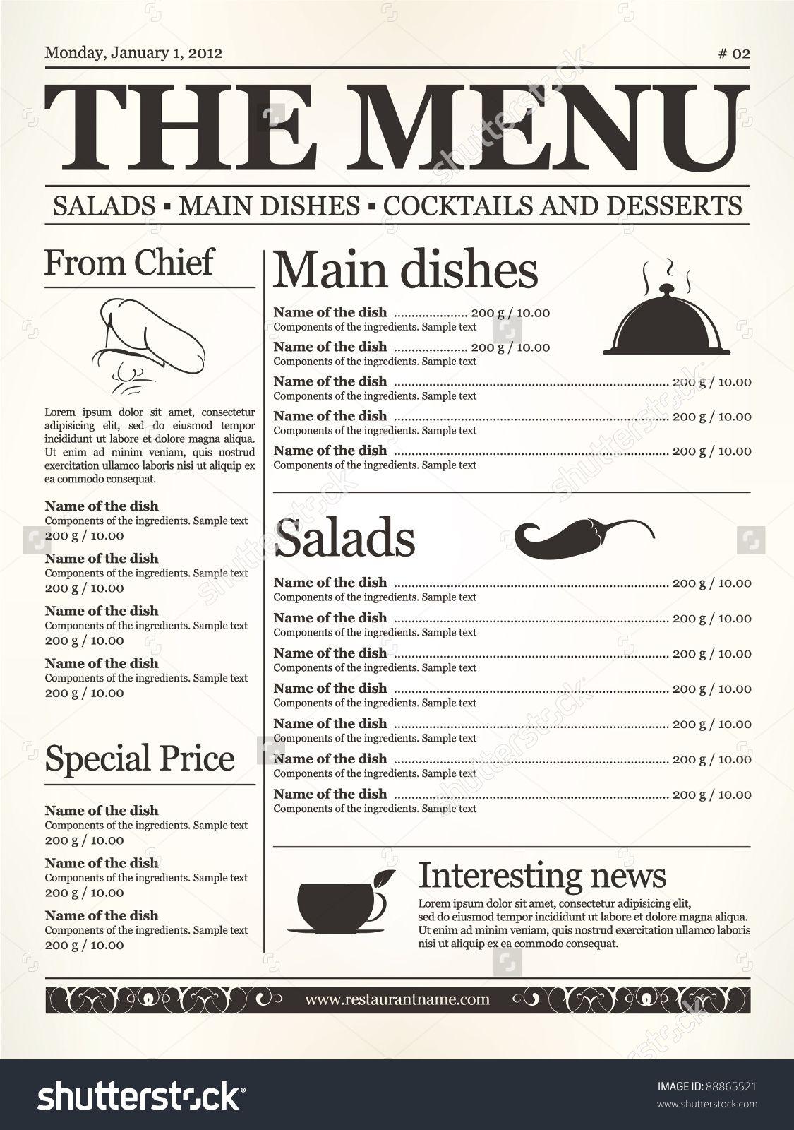 StockVectorRestaurantMenuDesignConceptTypeOfOldNewspaper