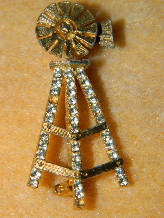 Vintage Gold Rhinestone Windmill Pin Brooch by TheIDconnection