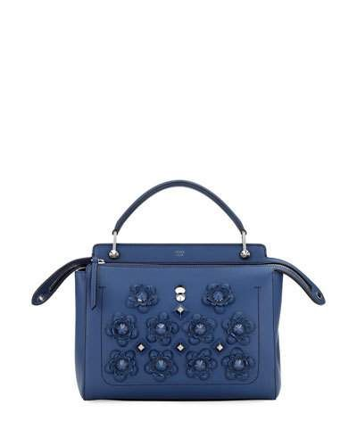 V36BM Fendi Dotcom Medium Flower Studded Satchel Bag, Denim Blue ... 58b9d96261