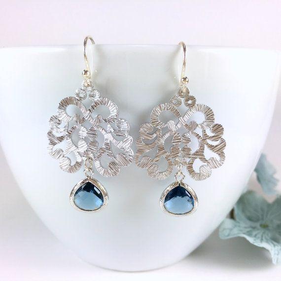 Silver Filigree Moroccan Sapphire Glass Drop Chandelier Earrings by BlingNiks