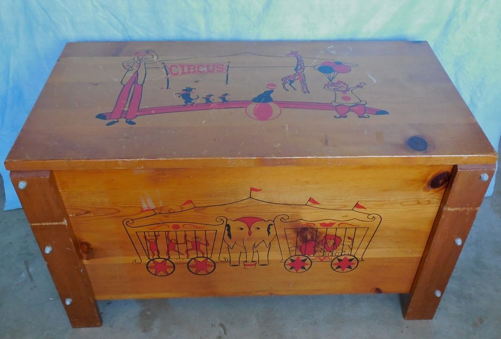 Vintage Wood Toy Box Circus Clowns 32 X18 X16 Unknown Wood Toy Box Wooden Toy Chest Vintage Wood