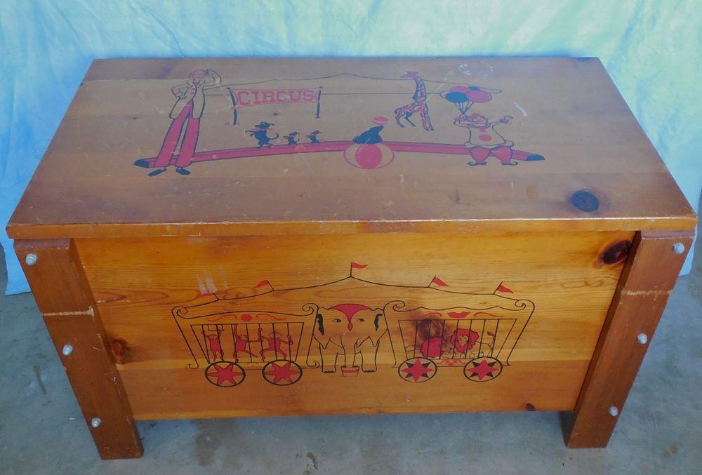 Vintage Wood Toy Box Circus Clowns 32 X18 X16 Wood Toy Box Wooden Toy Chest Vintage Wood