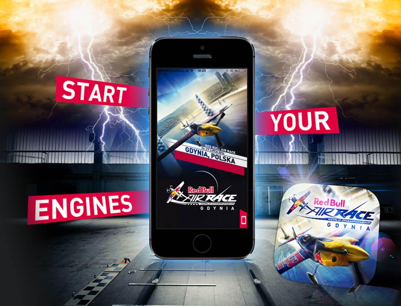 Red Bull Air Race App - Smartphone App zum AIR RACE mit Live-Infos zum laufenden Rennen via Push-Notification und zahlreichen Backgroundinfos. Implementierung von Gewinnspielen, Event-Maps und zahlreichen Features…