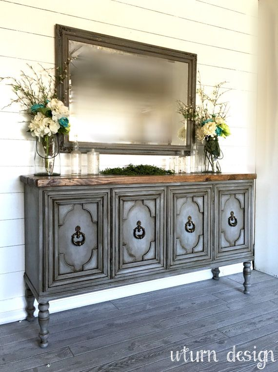 sold painted grey buffet entryway table sideboard tv. Black Bedroom Furniture Sets. Home Design Ideas