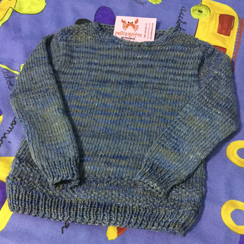 Jersey para niño en algodón jaspeado estilo denim by Pellizquitos. #handmade #knitting