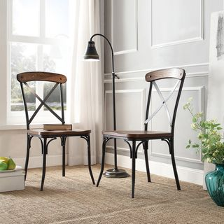 Nelson Industrial Modern Rustic Cross Back Dining Chair (Set Of 2) |  Overstock.