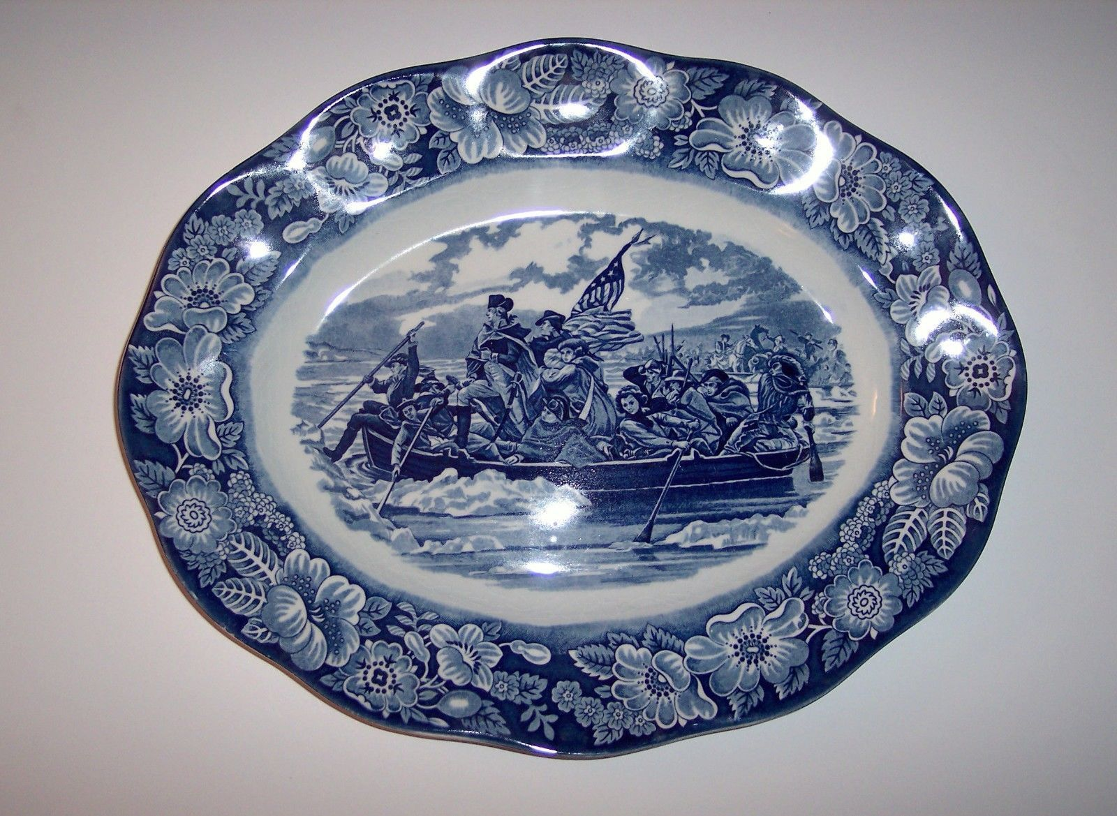 Vintage Liberty Blue China By Enoch Wedgewood Staffordshire England Made For 1776 1976 Bicentennial Celebration Of Americas Declaration