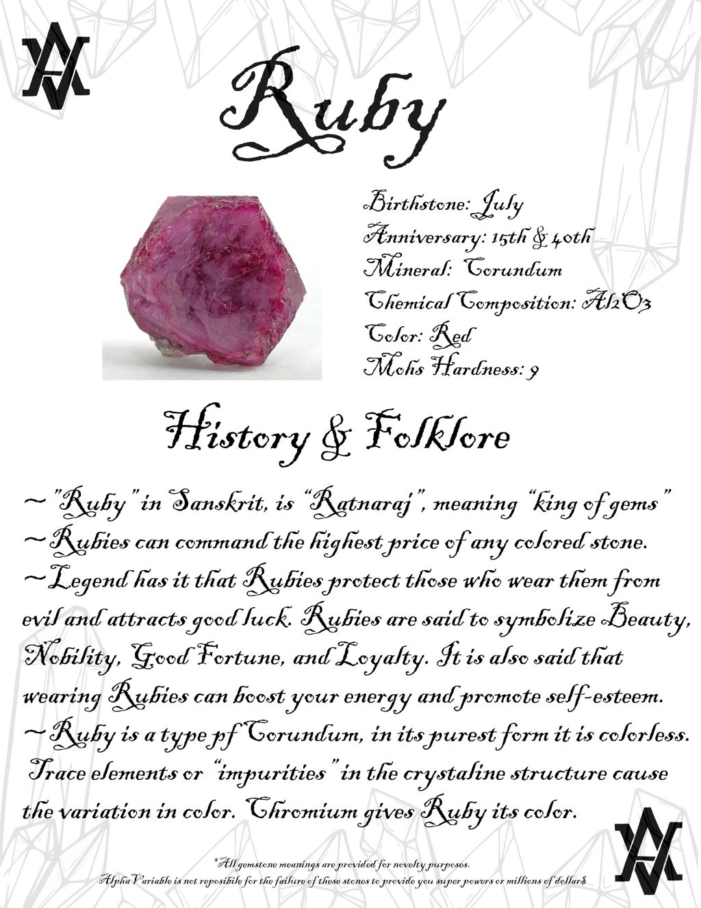 Ruby Gemstone Meaning History Facts Legend And Folklore About Rubies By Alphavariable Moonstone Gemstone Meani Crystal Healing Stones Crystal Meanings Crystals