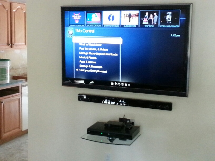 Jackson Nj Tv Mounted To Wall Floating Shelf Soundbar