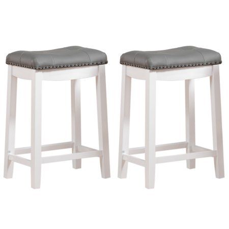 Angel Line Cambridge 24 Inch Padded Saddle Stool White W Gray