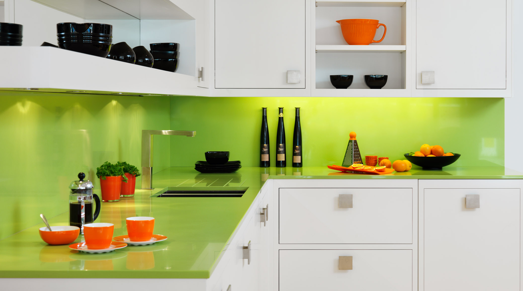 Luxury L Shaped Kitchen Cabinet In White Come With Green Lime - Green kitchen accessories ideas