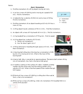 The Ultimate Momentum Worksheet Conceptual Understanding Physical Science Worksheets