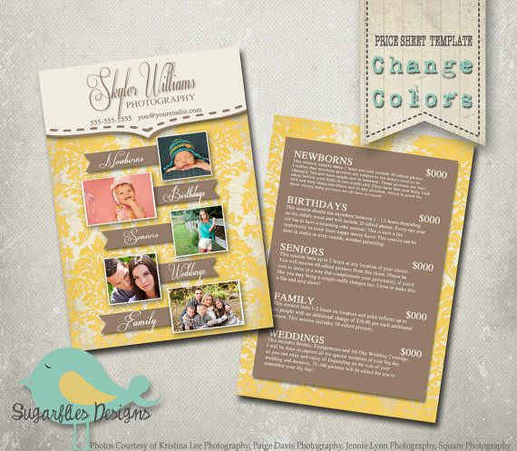 Photography Price Sheet Template Photography by SugarfliesDesigns - Price Sheet Template