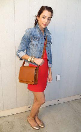 red dress / gold flats / denim jacket // 24 Ways to Wear a ...