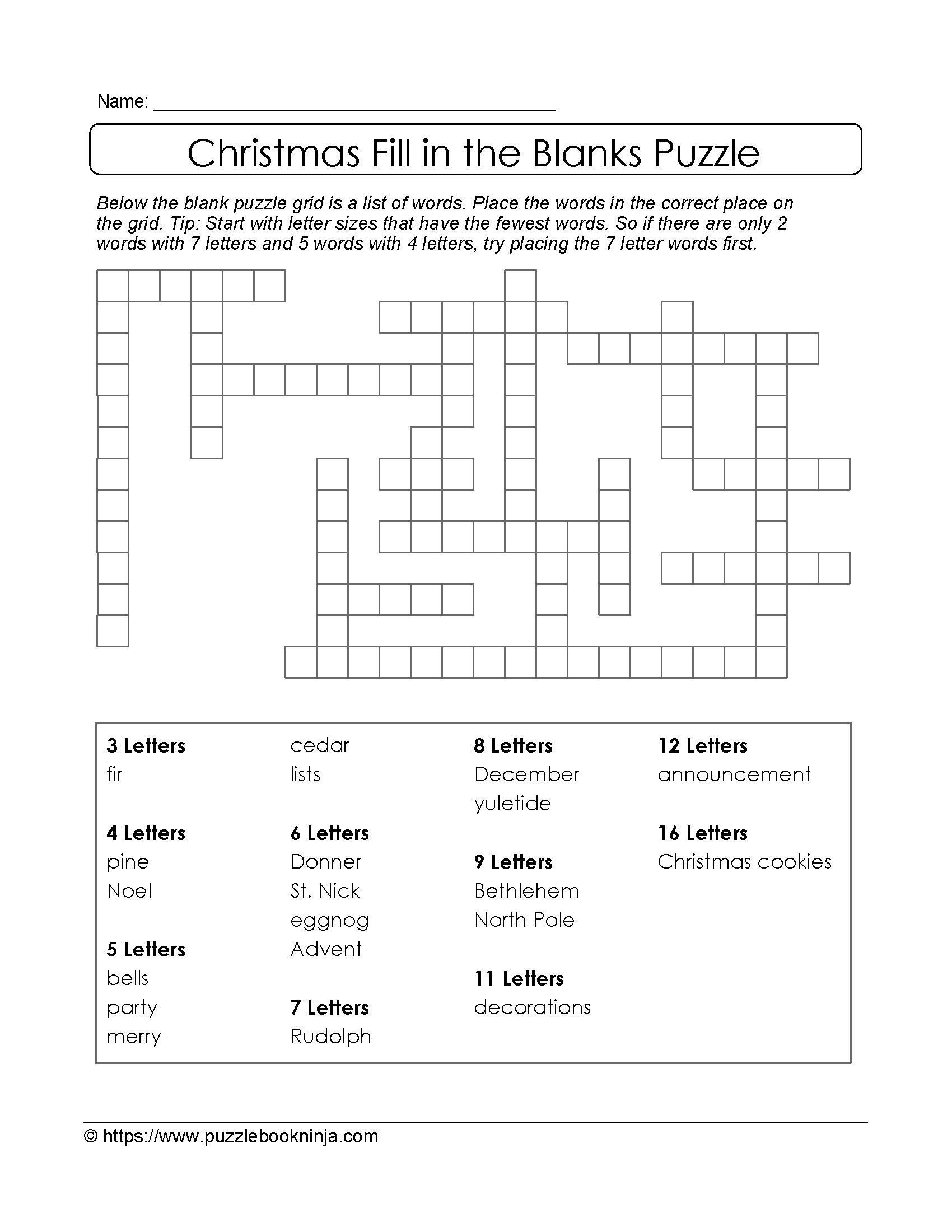 Crossword Puzzle Gallery Christmas Printable Free Fill In The Blanks Of Blank