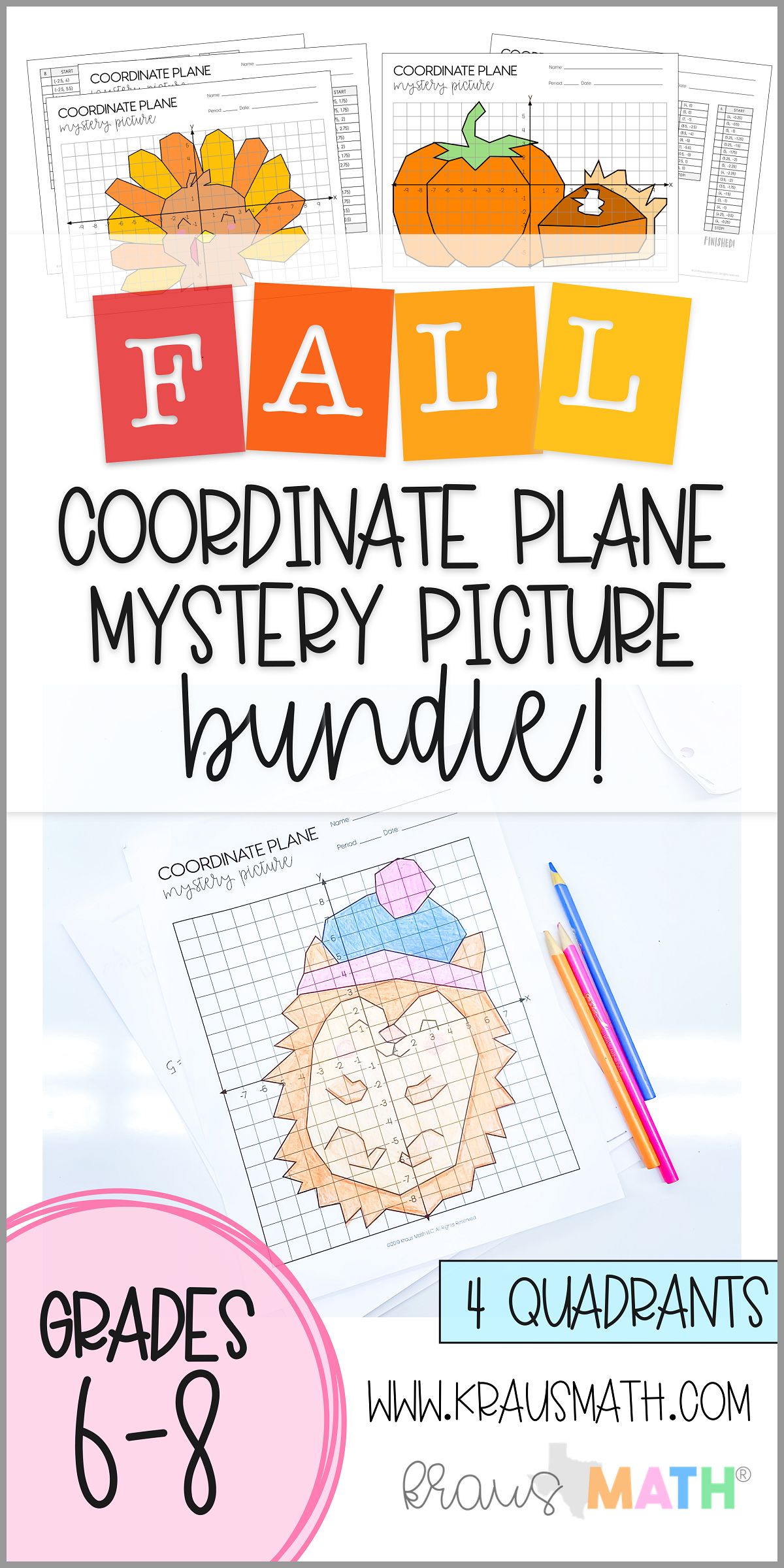 Thanksgiving Amp Fall Coordinate Plane Bundle 4 Quadrants