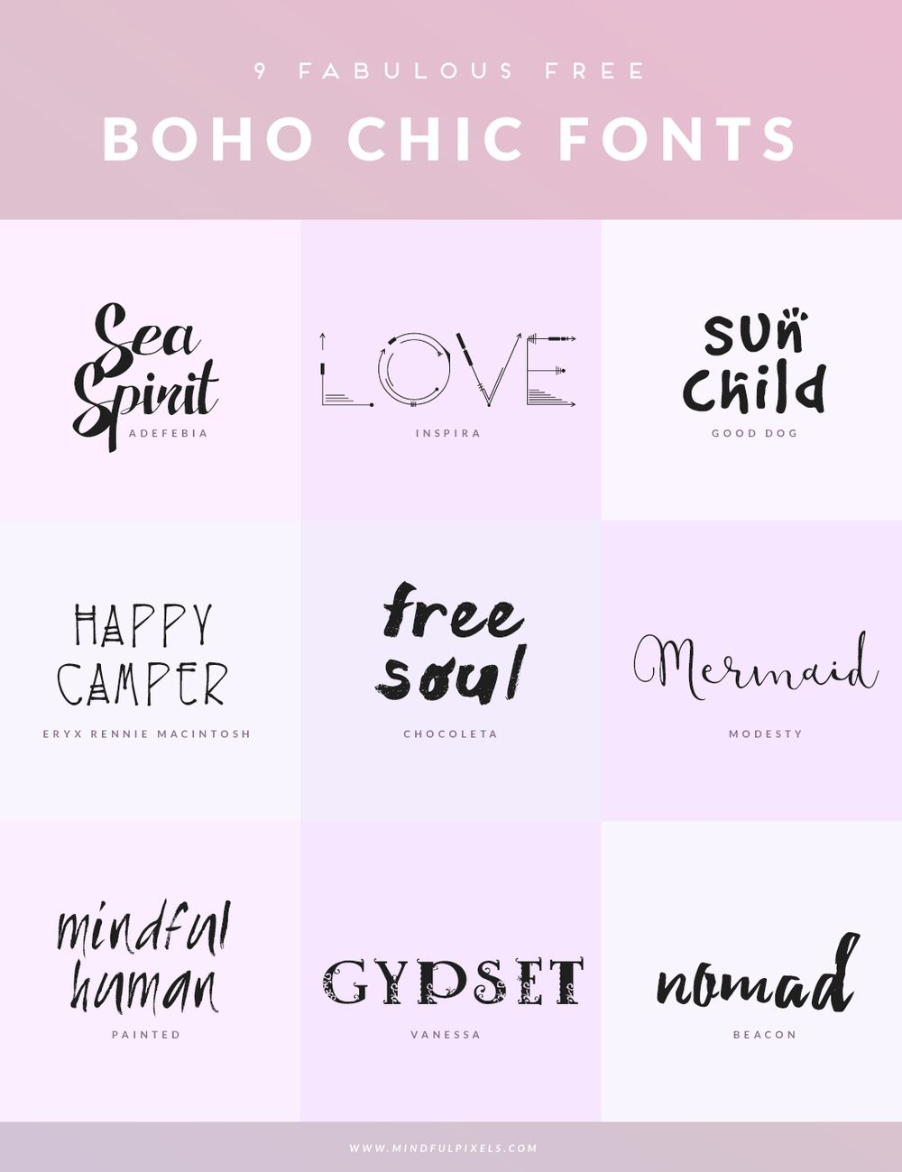 9 FREE BOHO CHIC FONTS Mindful Pixels