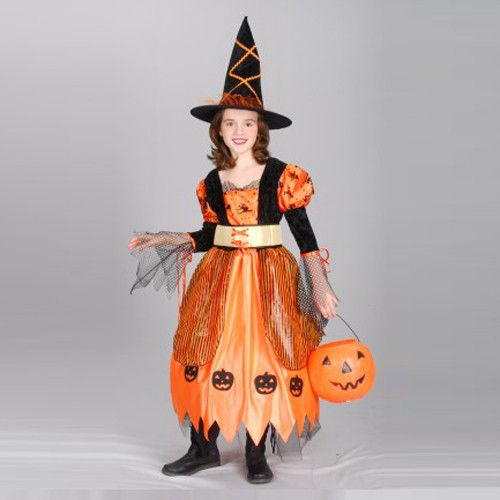 Halloween Pumpkin Childrens Witch Costume   kids costumes ...