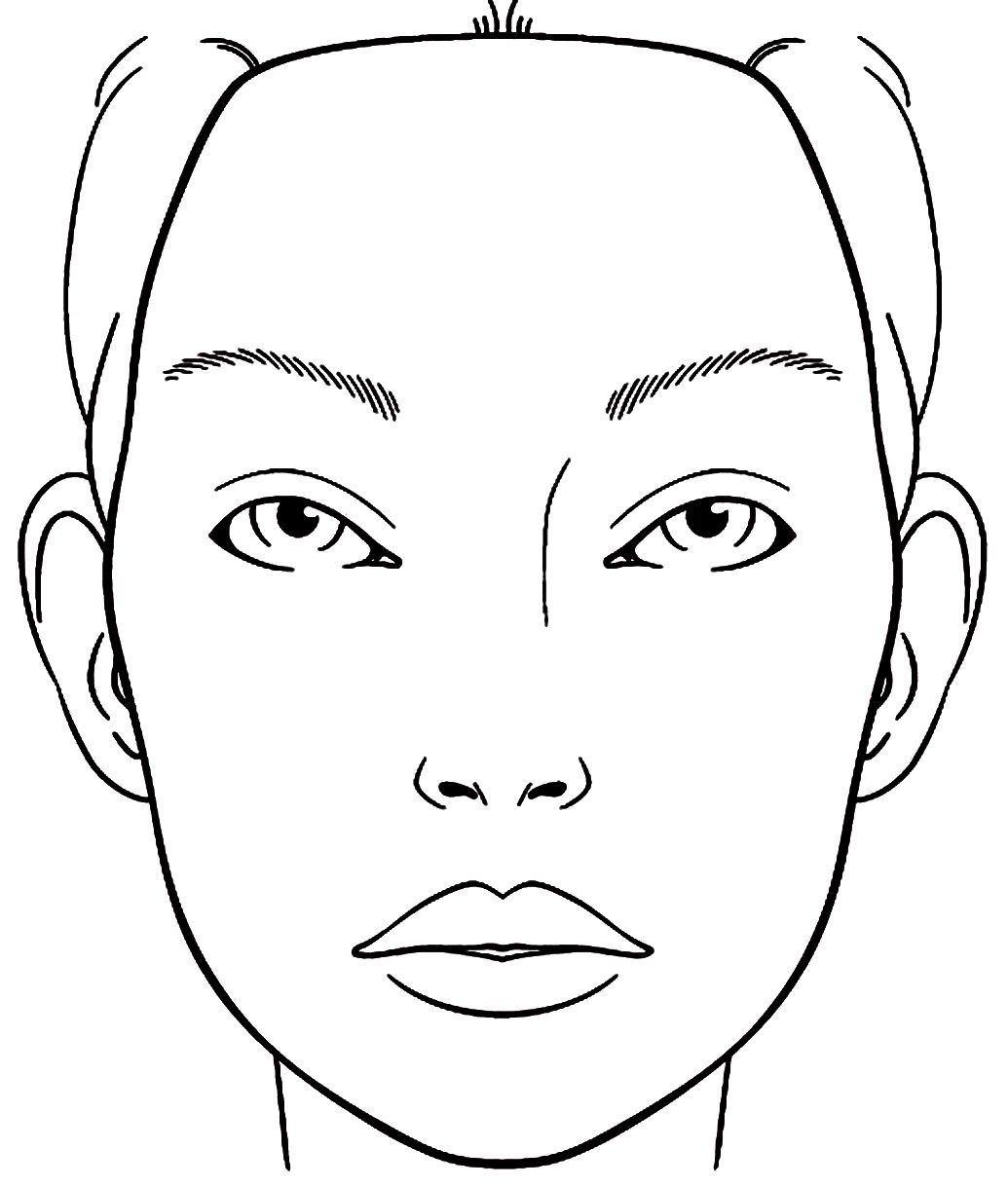 Blank Face Chart Sketch Coloring Page Rosto Para Maquiar Croqui