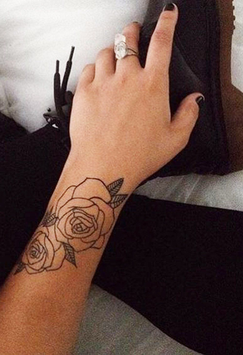 Black Rose Forearm Tattoo Ideas for Women