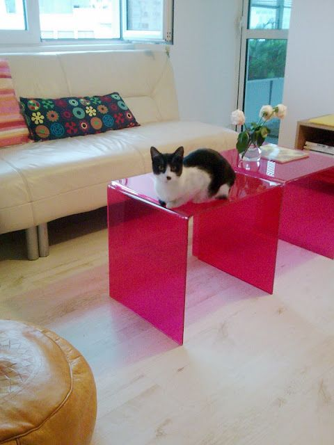 Before and after: Pink coffee tables