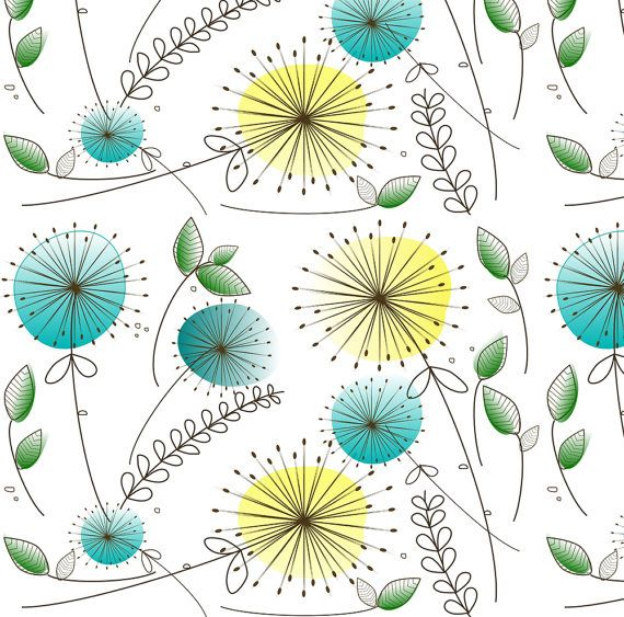 Mid Century Modern Fabric Dandelion Clocks By Hot4tees Bg Yahoo Com Retro Vintage Mod The Yard With Spoonflower