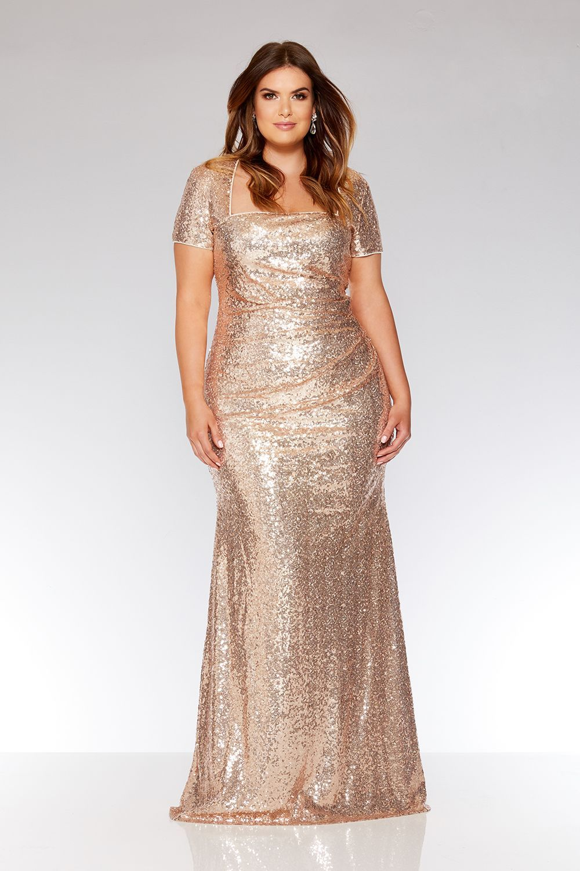 Plus Size Rose Gold Sequin Maxi Dress Gold Sequin Dress Sequin Maxi Dress Wedding Dress Organza [ 1500 x 1000 Pixel ]