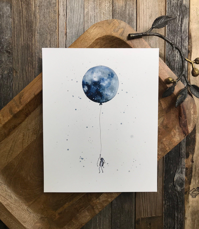 Impression D Art De Ballon De Lune D Aquarelle Art De Mur De