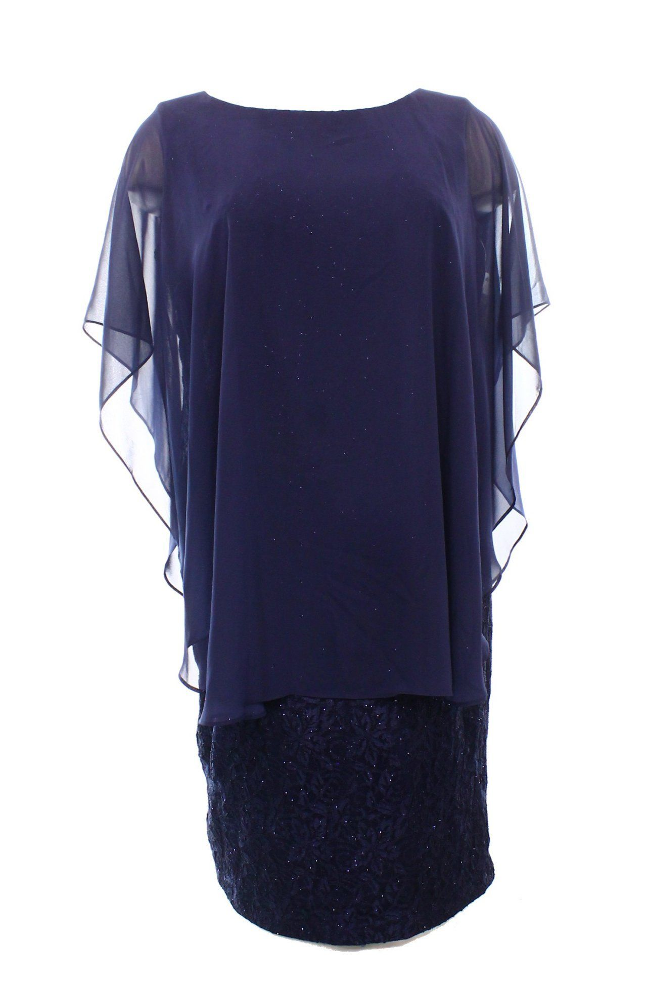 Jessica howard new navy blue size w plus glitter lace sheath dress