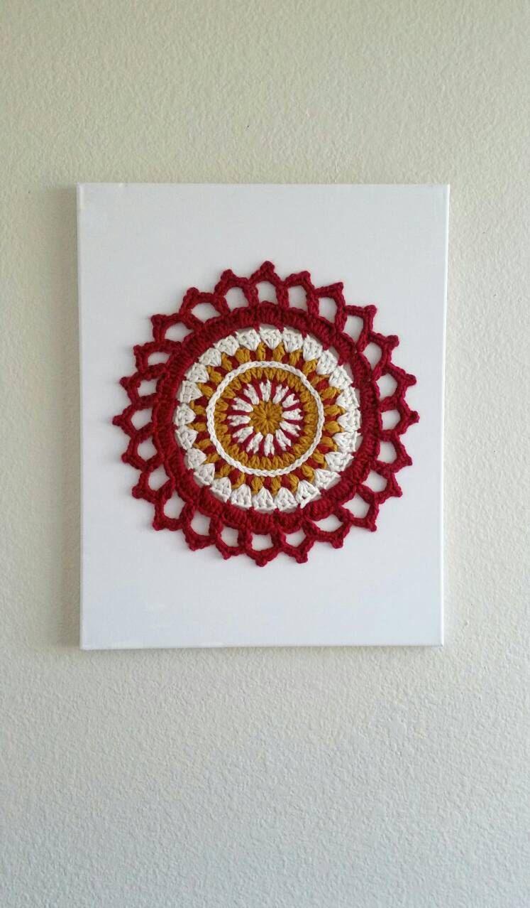 Mandala Wall Decor wall art mandala, wall hanging, crochet canvas, crochet mandala