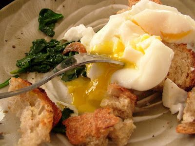 Day 48: Poached Eggs on Toast and Sautéed Spinach with Garlic