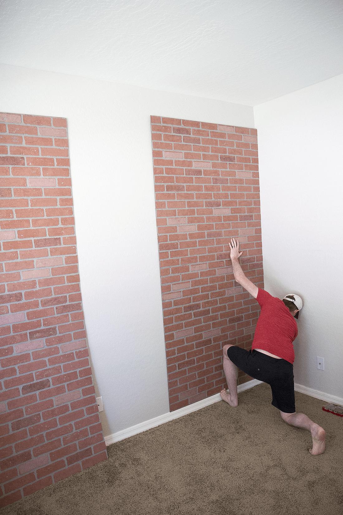 Diy Faux Brick Wall Easy Faux Brick Wall Using Brick