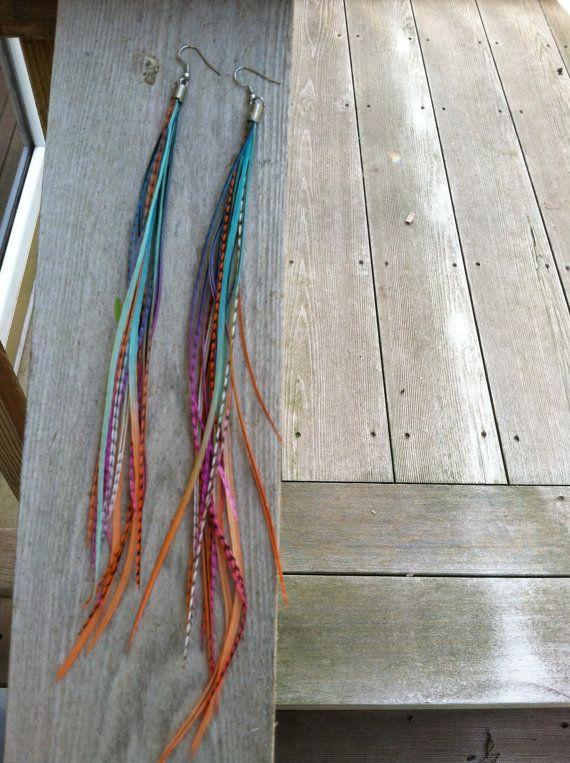 Long Feather Earrings - Rainbow Feather Earrings | Caught in Flight