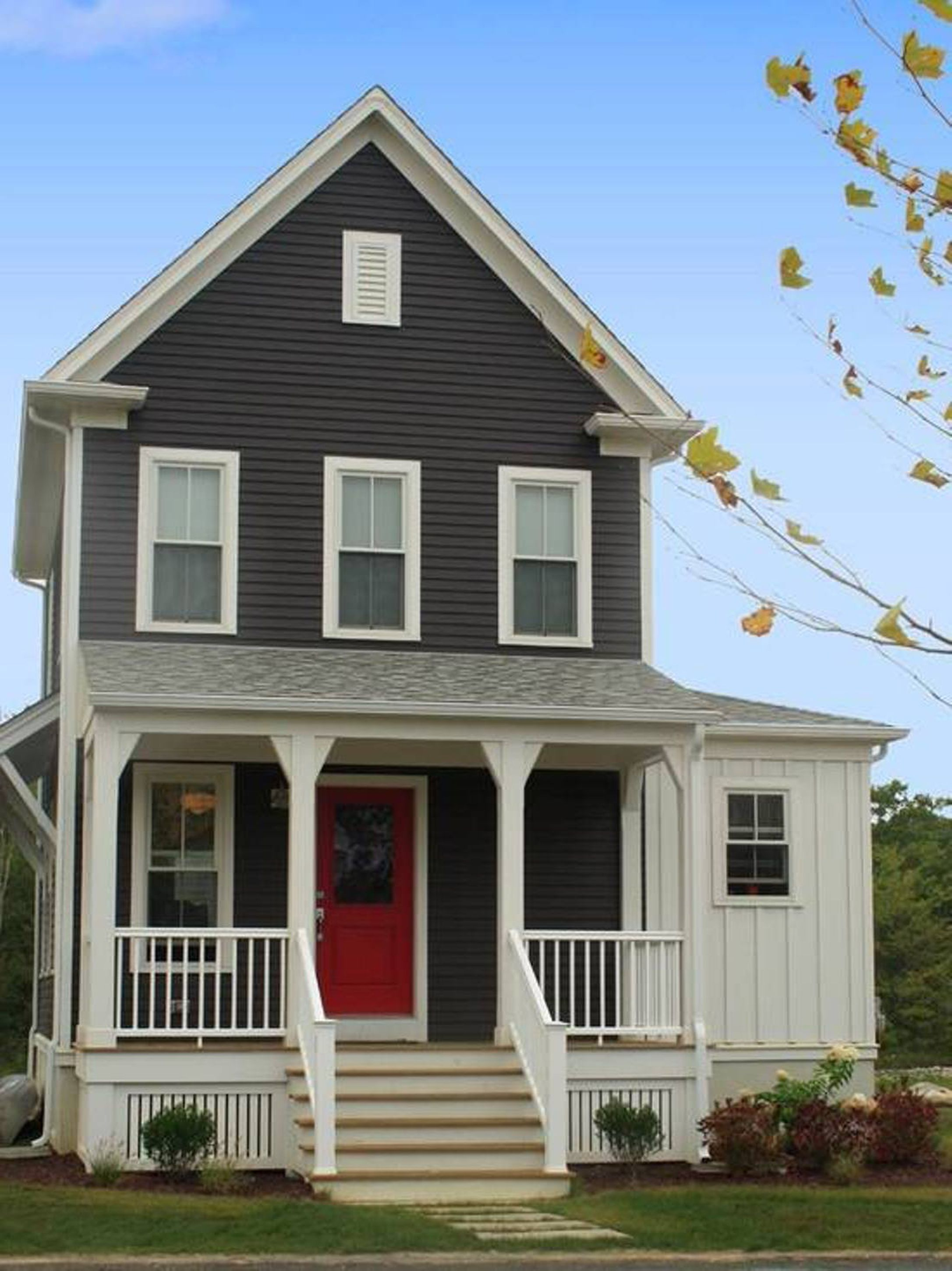 Delightful Gray House Exterior Paint Idea With White Window Frames Red Door A