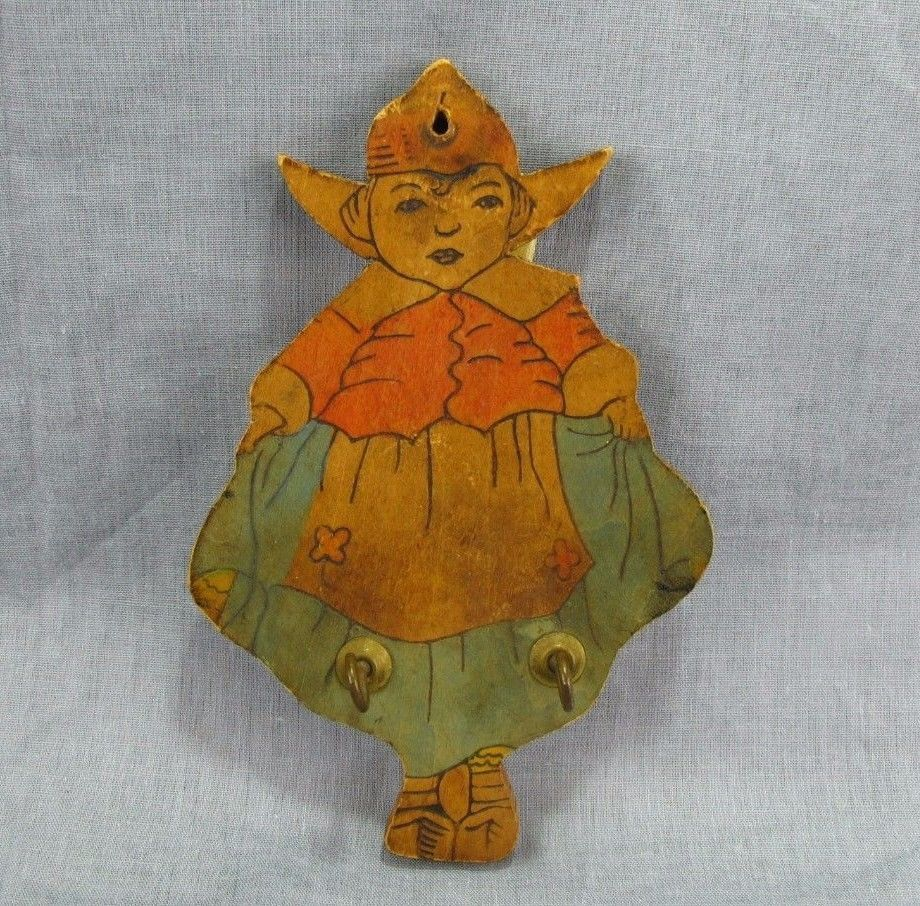 "Antique Norway Wooden Girl Wall Hanging Key Hook Norwegian Vintage 6"" Dress"