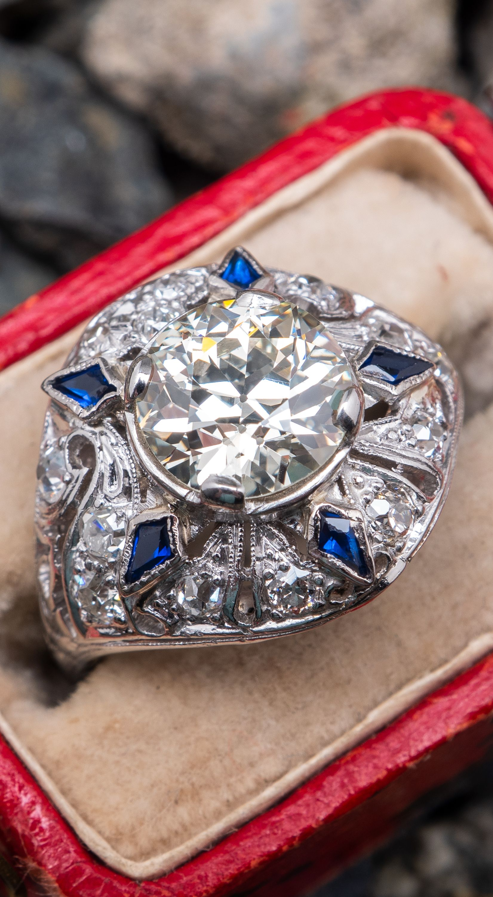 a944f6a6a Art Deco Engagement Ring Old Euro Diamond w/ Sapphires in Platinum ...