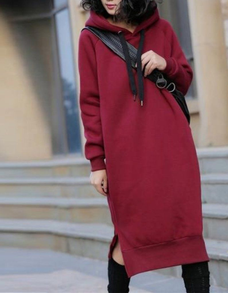 d4fd7224896 MOO Oversized hoodie Maxi hoodie with long sleeves in 3 colours ...
