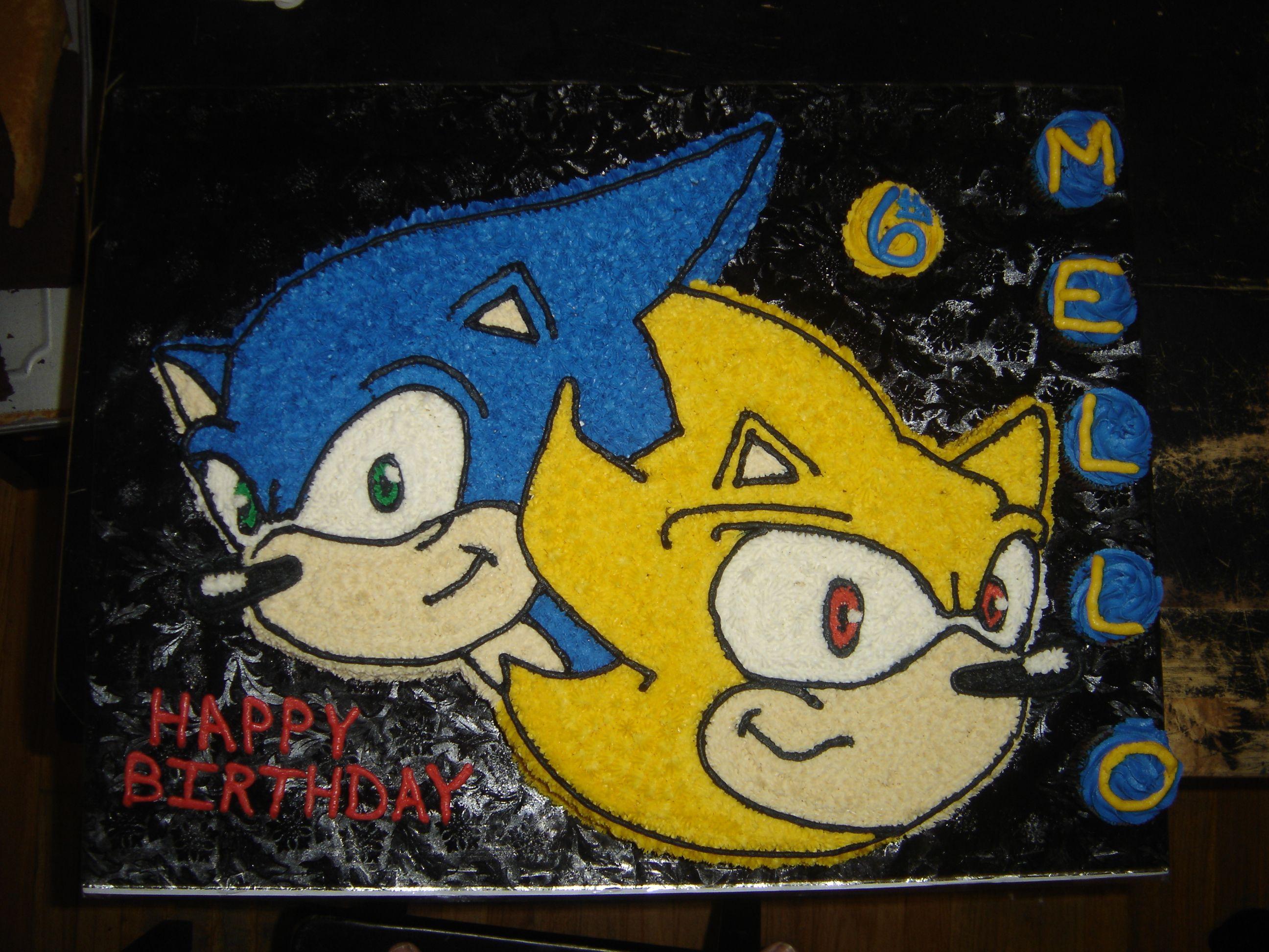 Sonic the Hedgehog cake is a half chocolate and half yellow cake ...