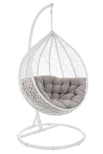 Chaise Suspendu Oeuf Osier Blanc Et Gris Fauteuil Fauteuil Cute Bedroom Decor Bedroom Decor Comfortable Bedroom Decor