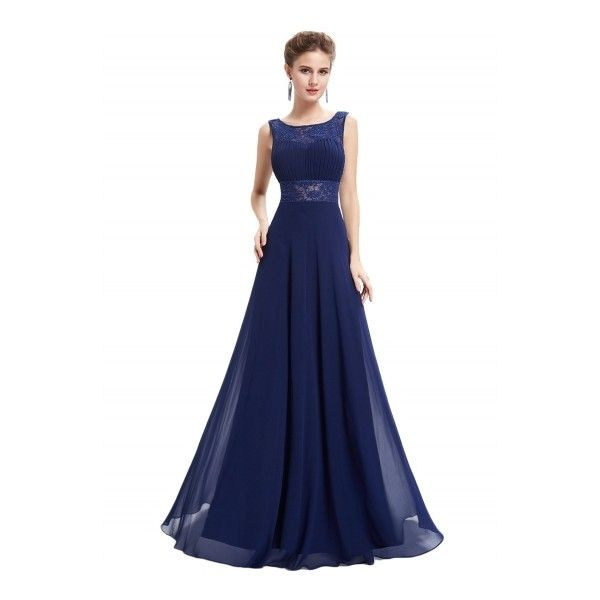 Women\'s Lace Trim Scoop Back High Waist Prom Dress ($55) ❤ liked on ...